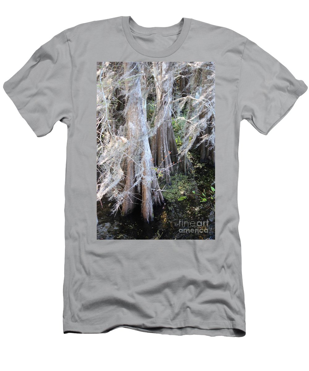 Wind Through Cypresses Men's T-Shirt (Athletic Fit) featuring the photograph Wind Through The Cypress Trees by Carol Groenen