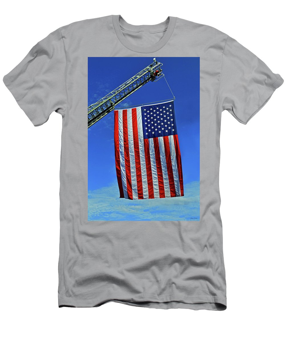 Flag Men's T-Shirt (Athletic Fit) featuring the photograph Winder Fire Department - 9-11-16 by George Bostian