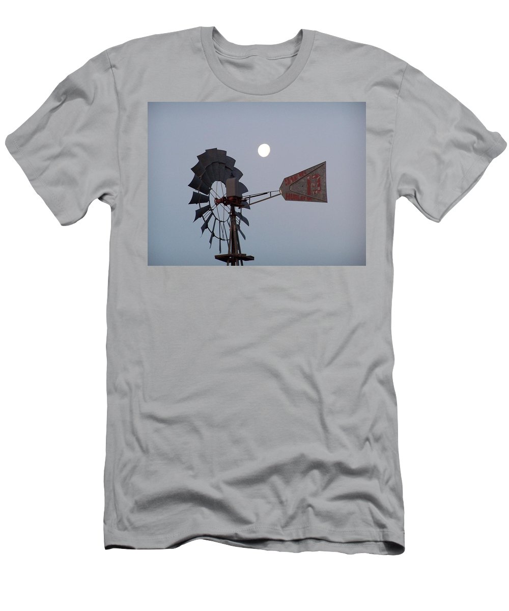 Windmill Men's T-Shirt (Athletic Fit) featuring the photograph Windmill Moon by Gale Cochran-Smith