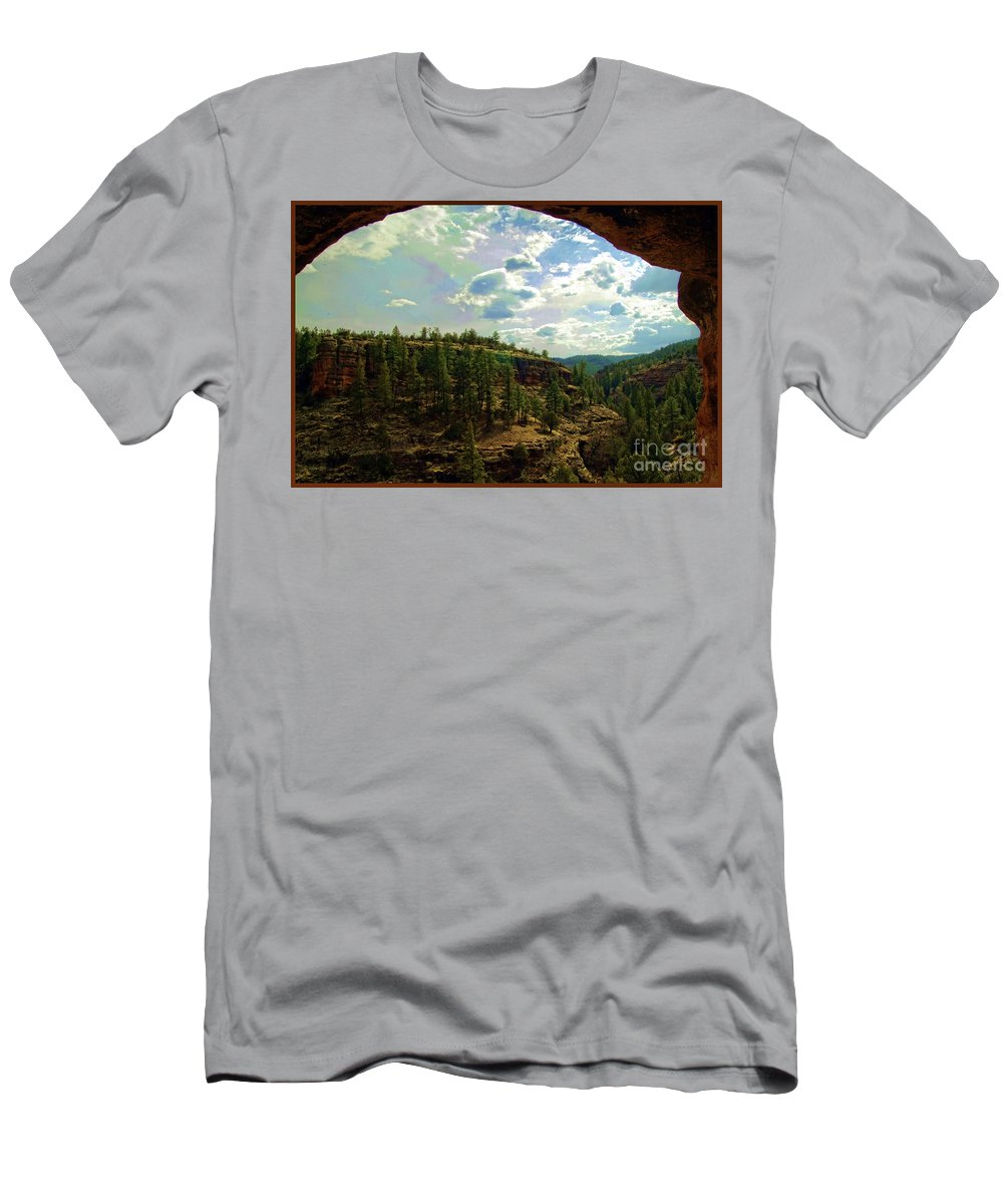 Gila Cliff Dwellings National Monument Men's T-Shirt (Athletic Fit) featuring the photograph Window View From Inside Gila Cliff Dwellings by Doug Berry