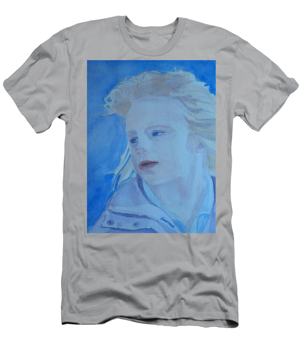 Portrait Portraits Men's T-Shirt (Athletic Fit) featuring the painting Windswept by Jenny Armitage
