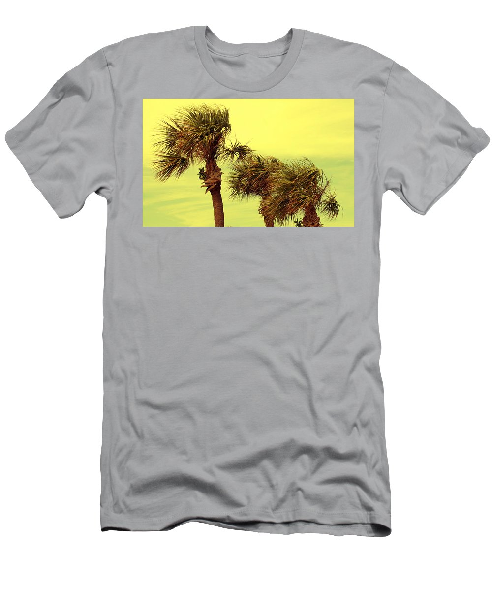 Palm Tree Men's T-Shirt (Athletic Fit) featuring the photograph Windy Palms by Susanne Van Hulst
