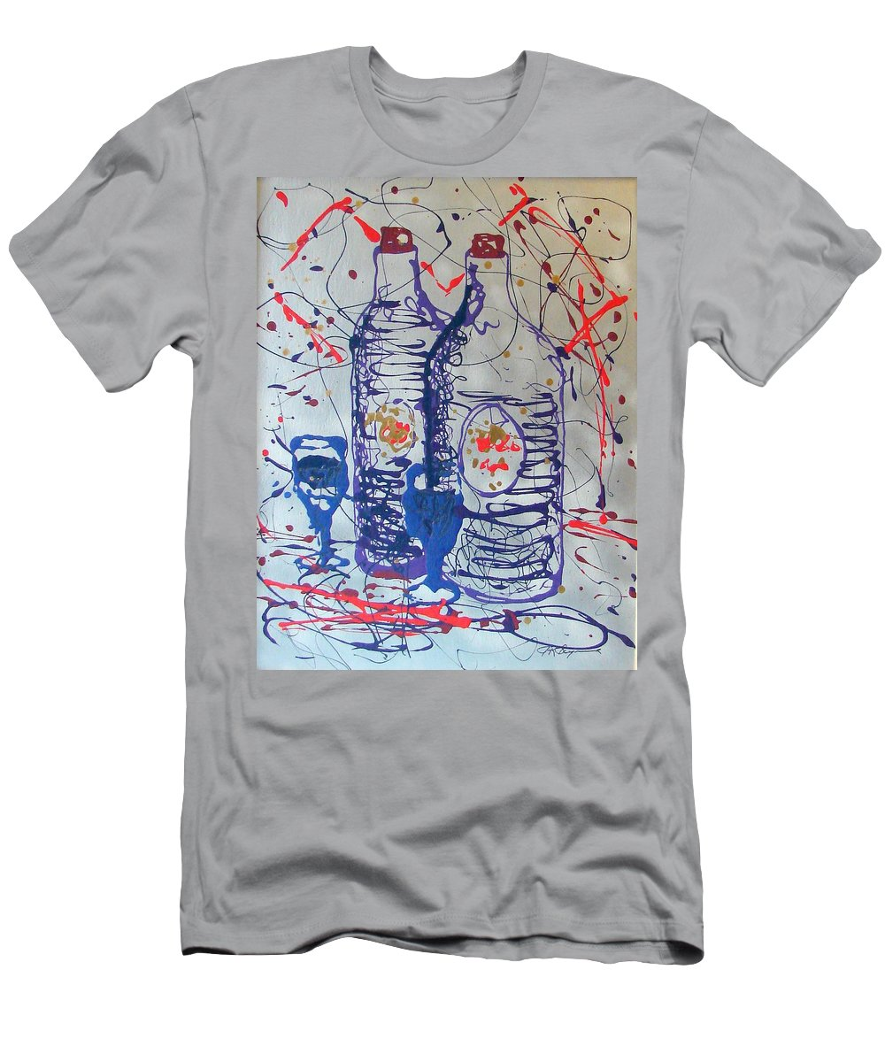 Wine Glass And Bottles Men's T-Shirt (Slim Fit) featuring the painting Wine Jugs by J R Seymour