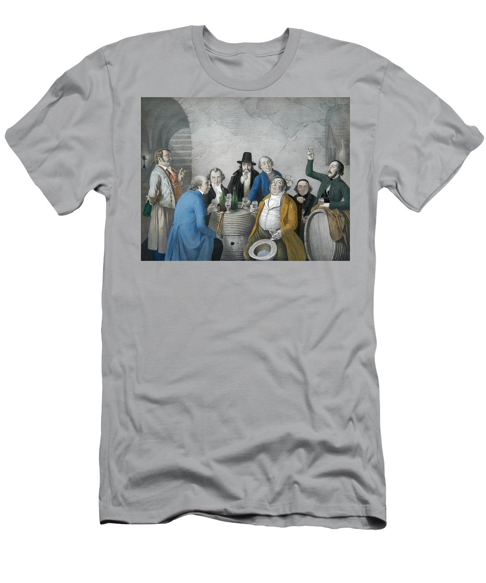 German Art Men's T-Shirt (Athletic Fit) featuring the relief Wine Tasters In A Cellar by Johann Peter Hasenclever