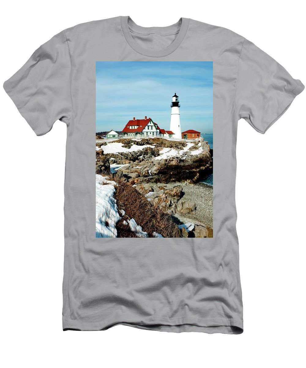 Coast Men's T-Shirt (Athletic Fit) featuring the photograph Winter At Portland Head by Greg Fortier