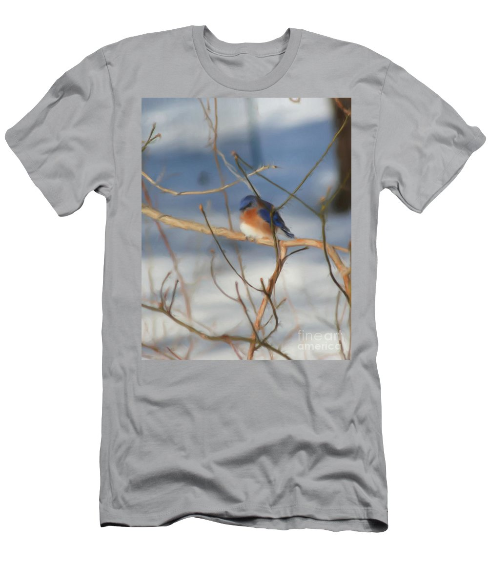 Animal Men's T-Shirt (Athletic Fit) featuring the painting Winter Bluebird Art by Smilin Eyes Treasures