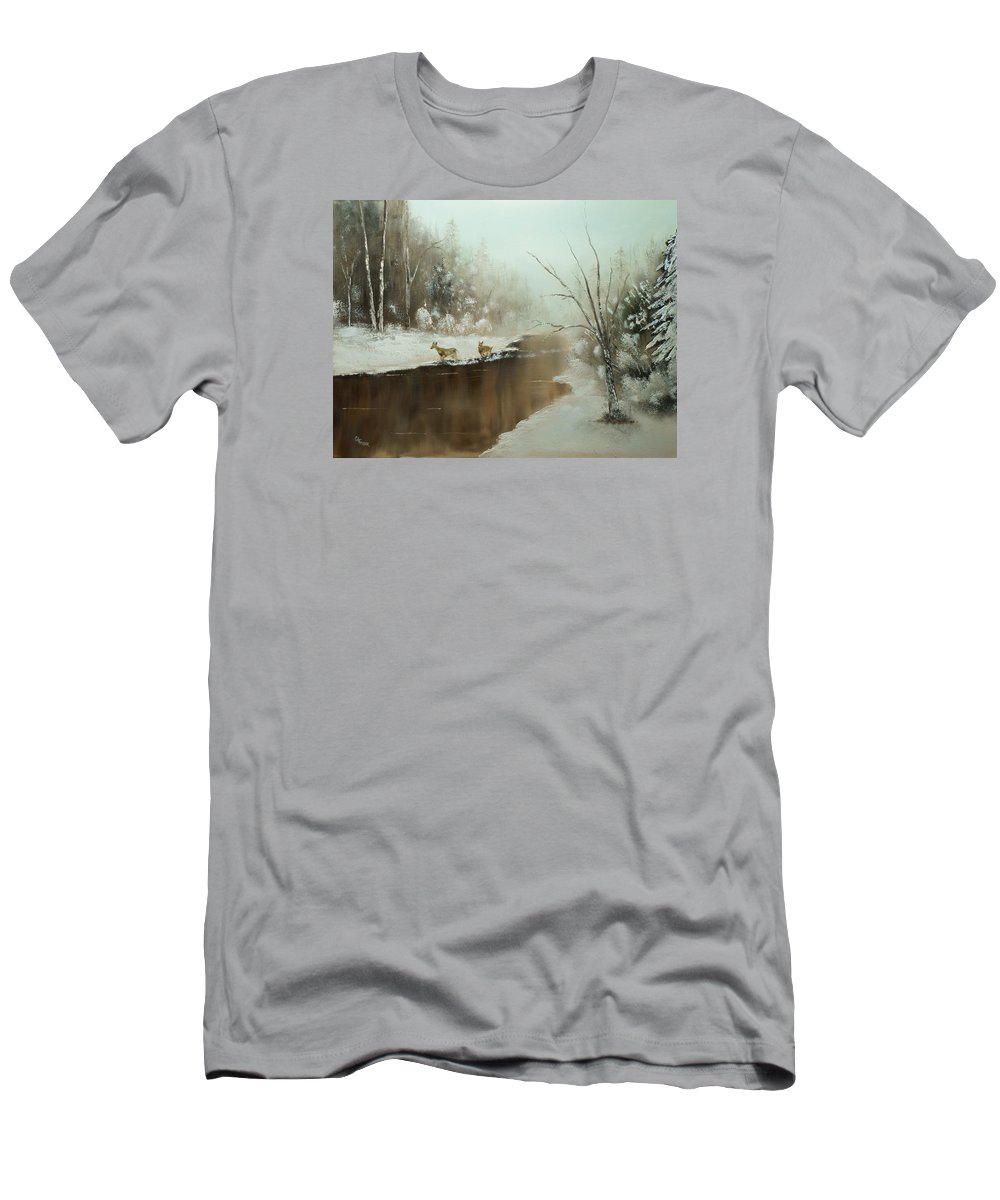 Deer Men's T-Shirt (Athletic Fit) featuring the painting Winter Deer Run by Chris Fraser