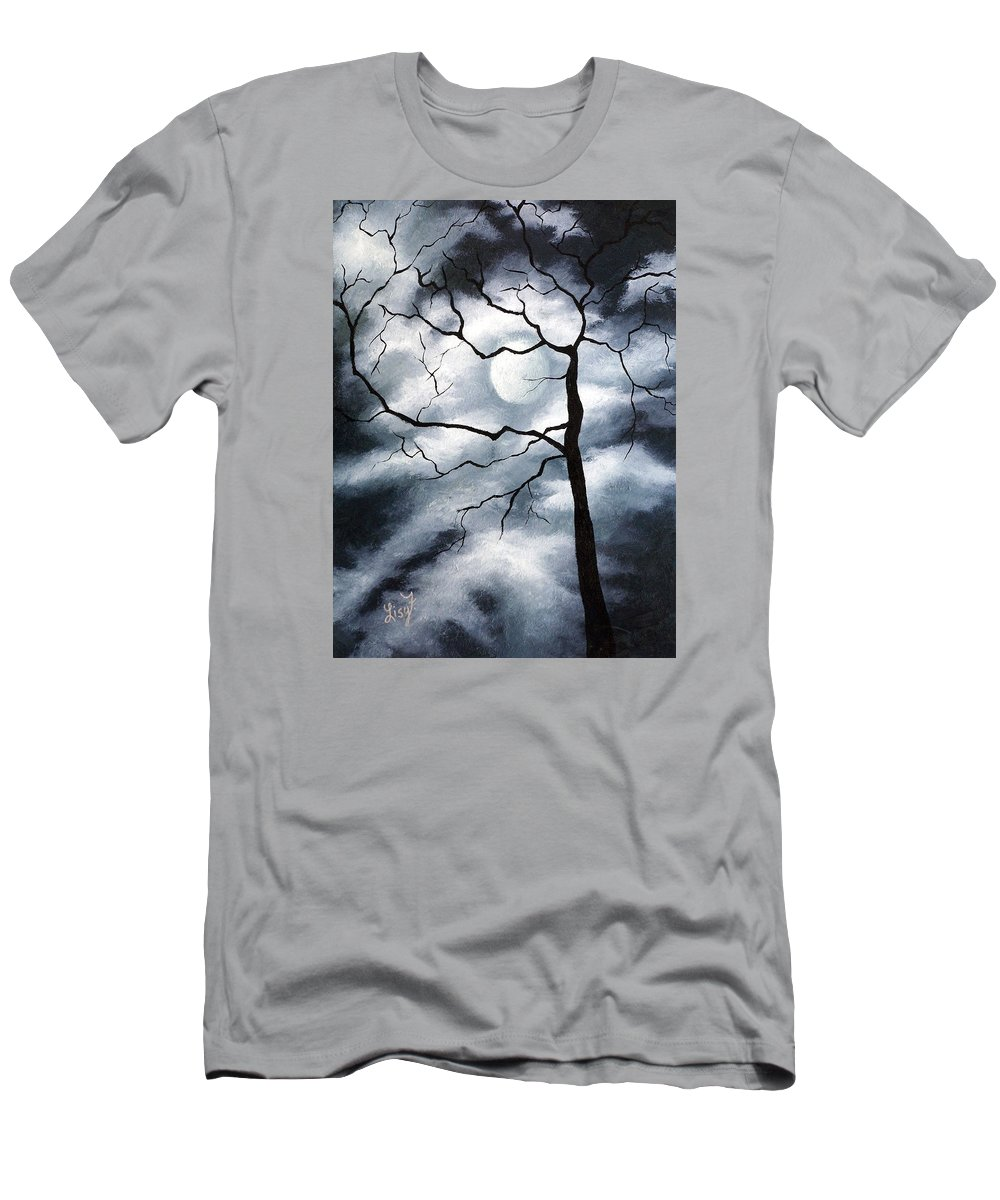 Winter Men's T-Shirt (Athletic Fit) featuring the painting Winter Evening by Elizabeth Lisy Figueroa