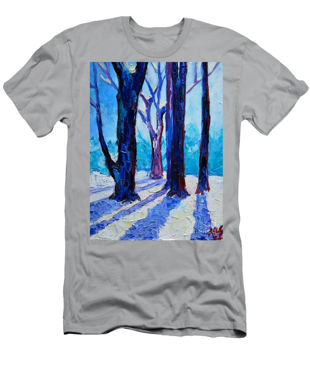Winter Men's T-Shirt (Athletic Fit) featuring the painting Winter Impression by Ana Maria Edulescu