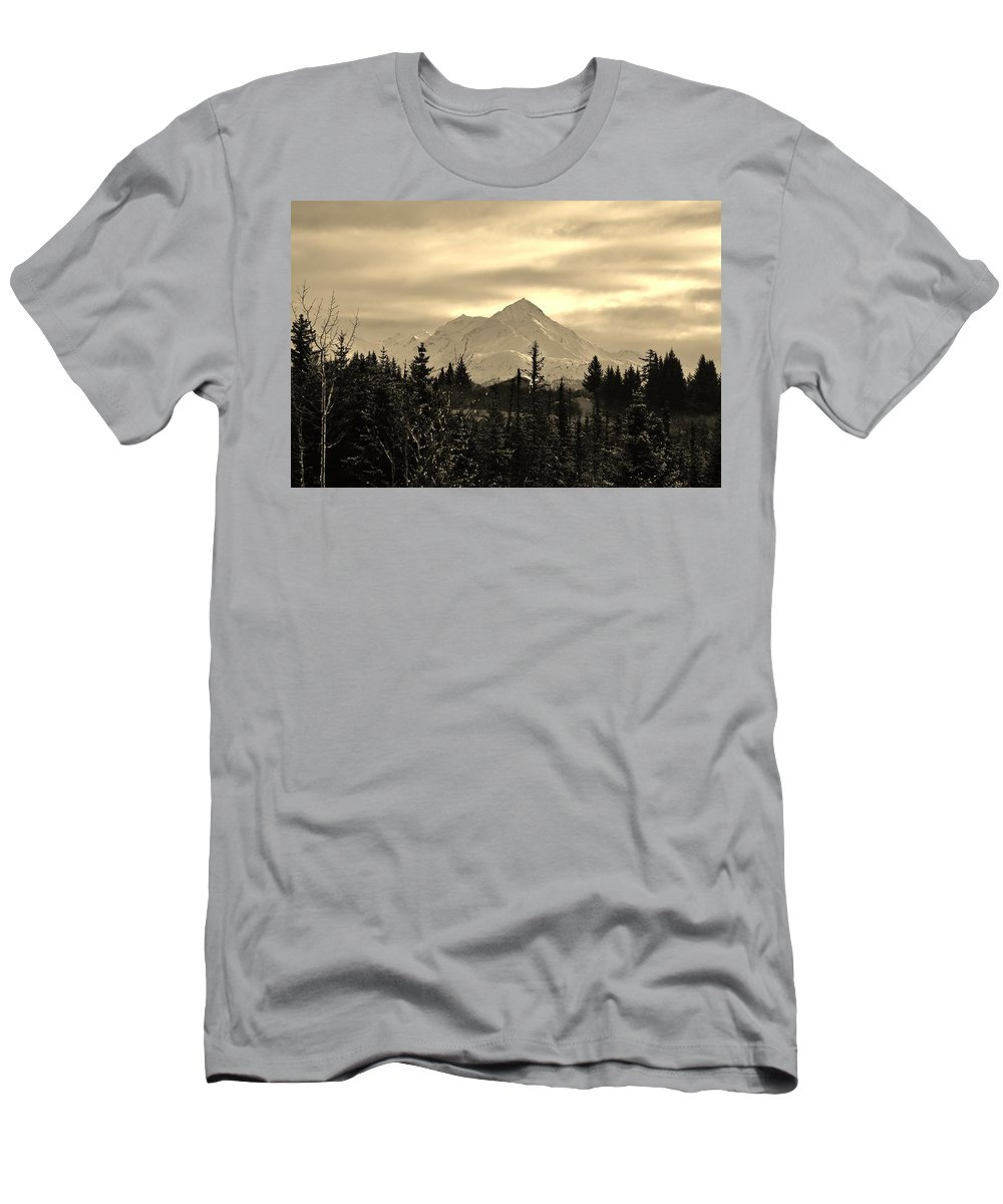 Kenai Mountain Range Men's T-Shirt (Athletic Fit) featuring the photograph Winter In Black N White by Lori Mahaffey