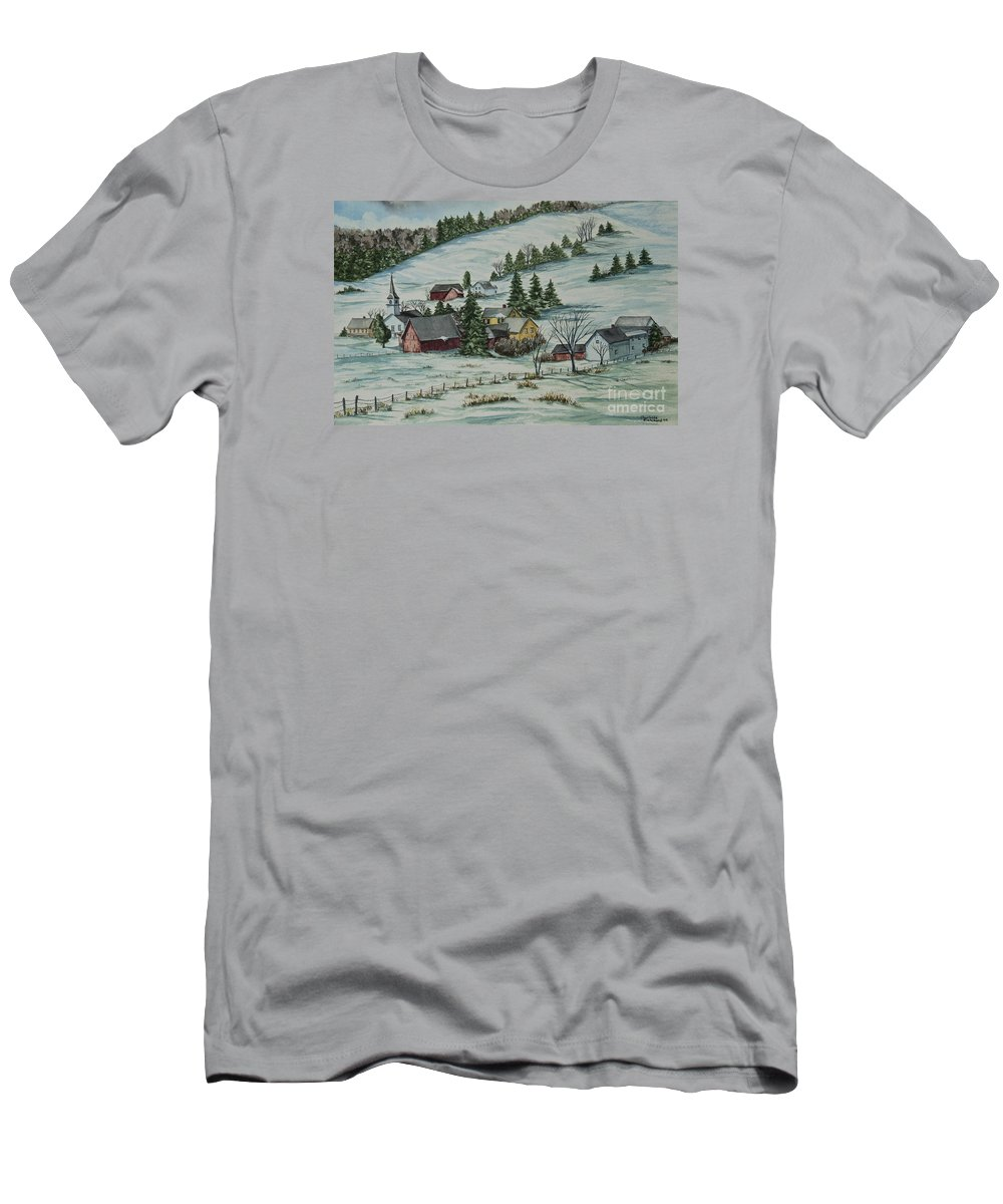 Winter Scene Paintings Men's T-Shirt (Athletic Fit) featuring the painting Winter In East Chatham Vermont by Charlotte Blanchard