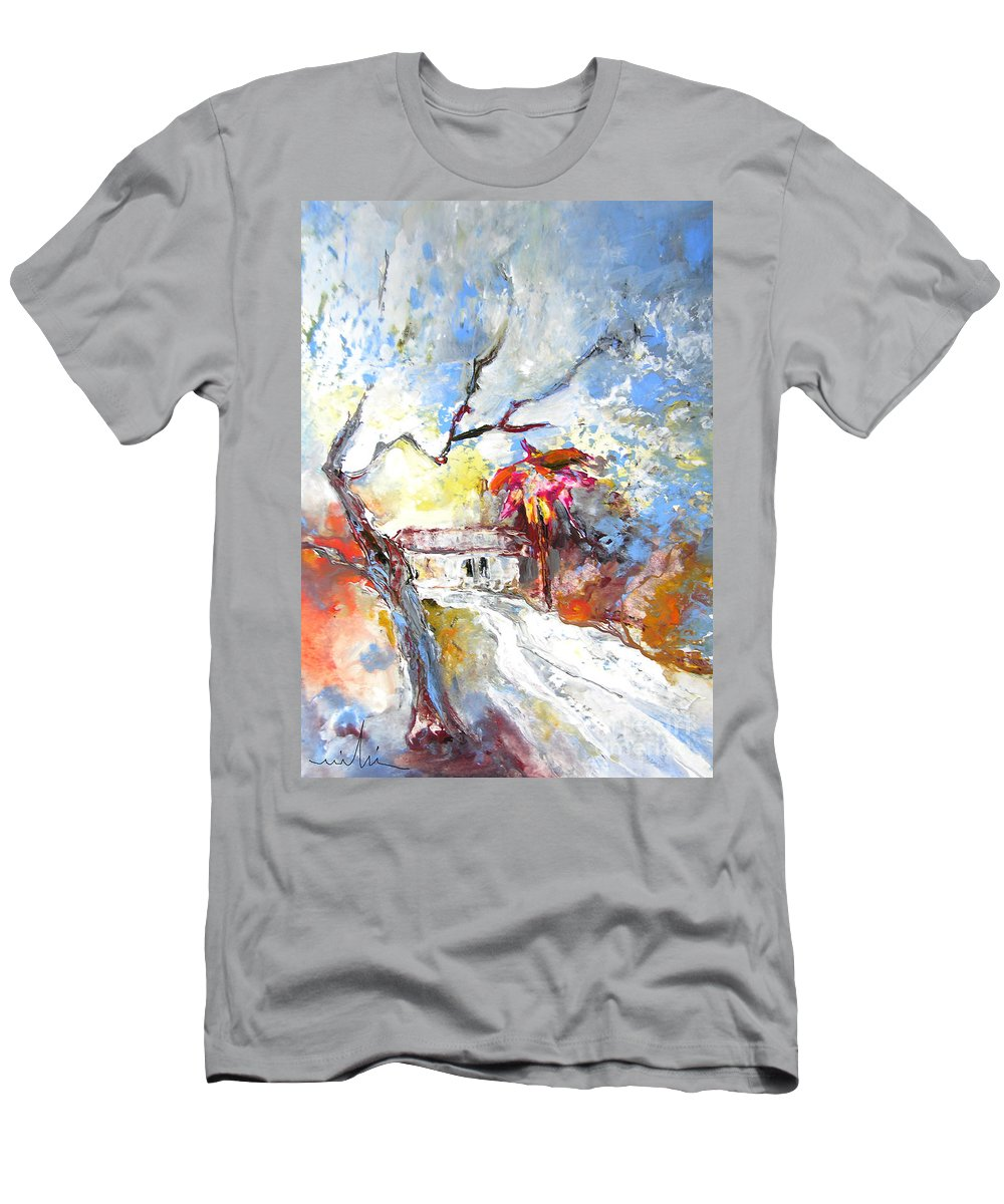 Spain Men's T-Shirt (Athletic Fit) featuring the painting Winter In Spain by Miki De Goodaboom