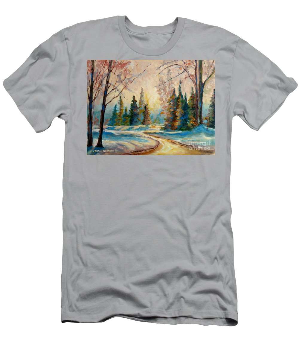 Winter Landscape Knowlton Quebec Men's T-Shirt (Athletic Fit) featuring the painting Winter Landscape Knowlton Quebec by Carole Spandau