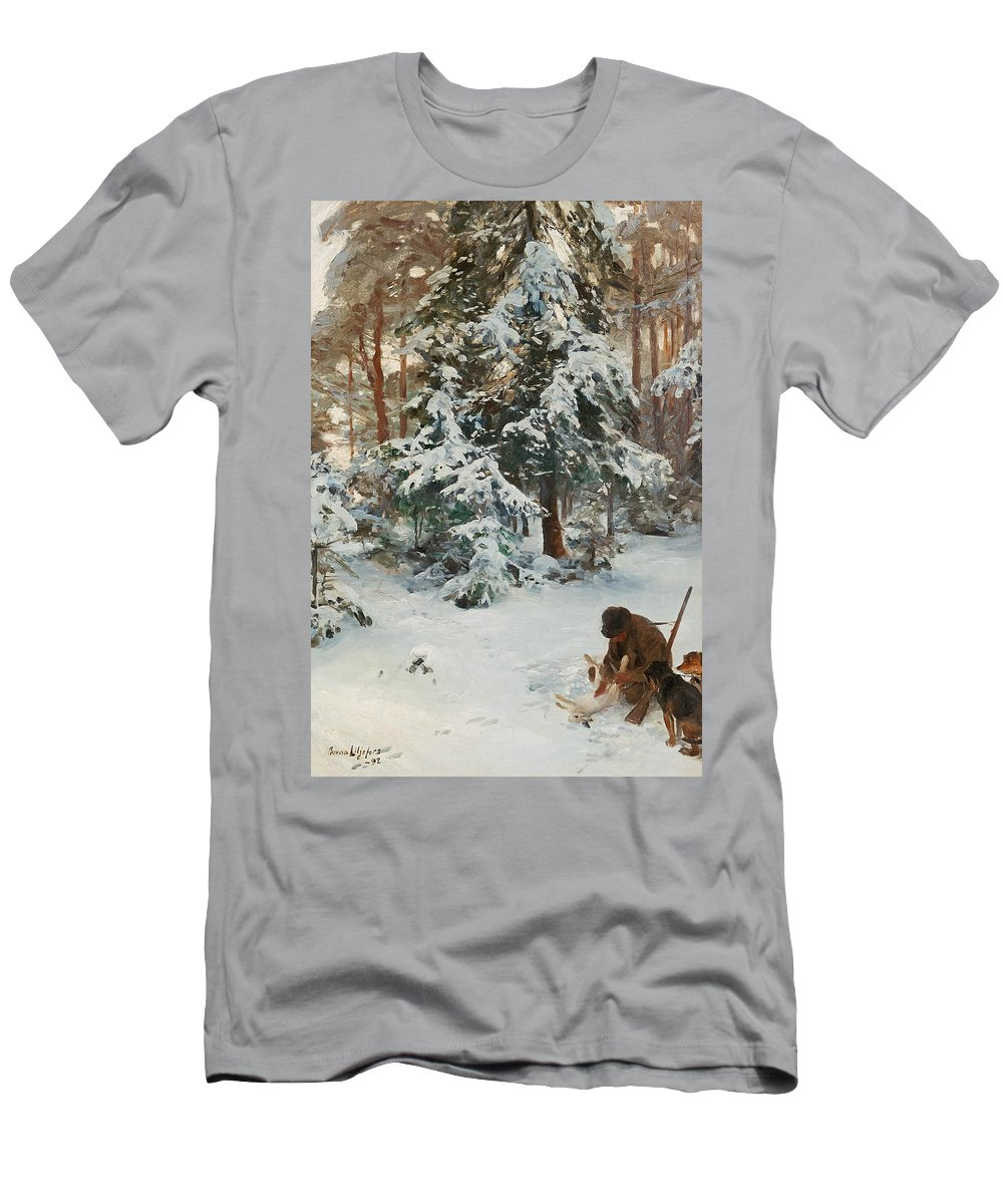 Swedish Art Men's T-Shirt (Athletic Fit) featuring the painting Winter Landscape With Hunters And Dogs by Bruno Liljefors