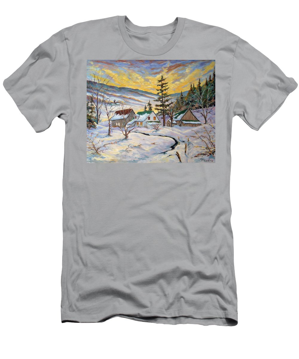 Landscape Men's T-Shirt (Athletic Fit) featuring the painting Winter Lights by Richard T Pranke