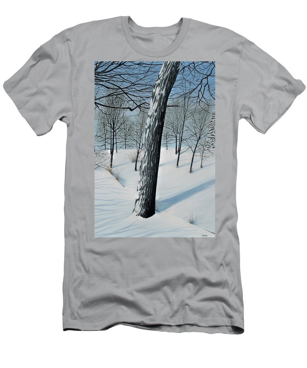 Landscape Men's T-Shirt (Athletic Fit) featuring the painting Winter Maple by Kenneth M Kirsch