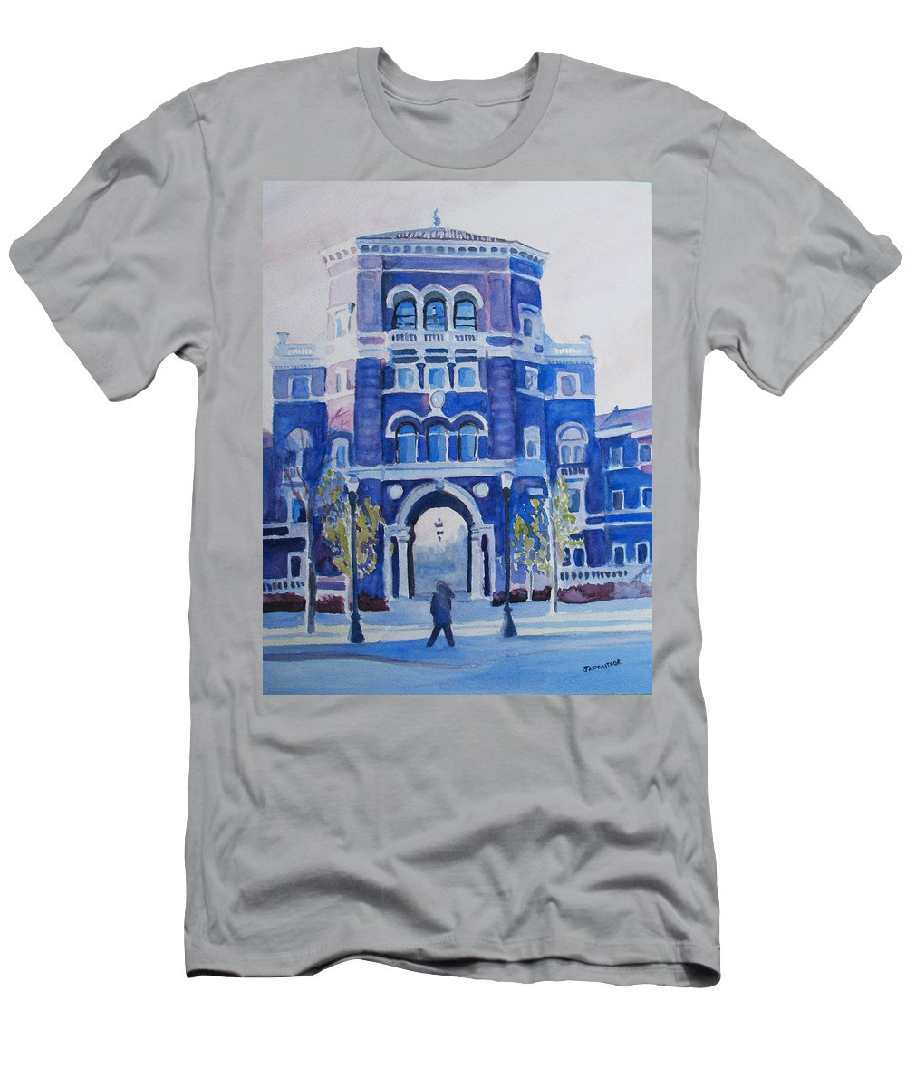 Building Men's T-Shirt (Athletic Fit) featuring the painting Winter Morning On Campus by Jenny Armitage