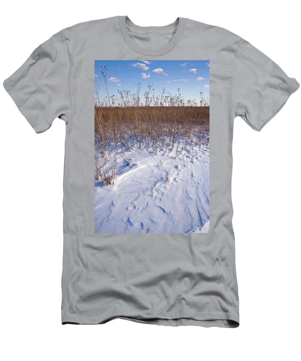 Goose Men's T-Shirt (Athletic Fit) featuring the photograph Winter On The Prairie by Steve Gadomski