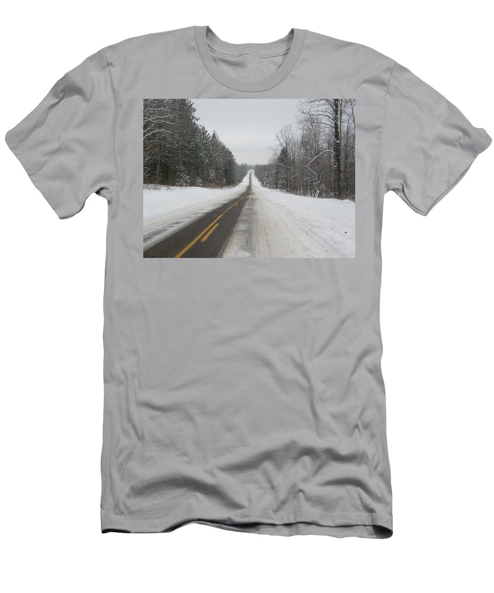 Winter Men's T-Shirt (Athletic Fit) featuring the photograph Winter Road by Alice Markham