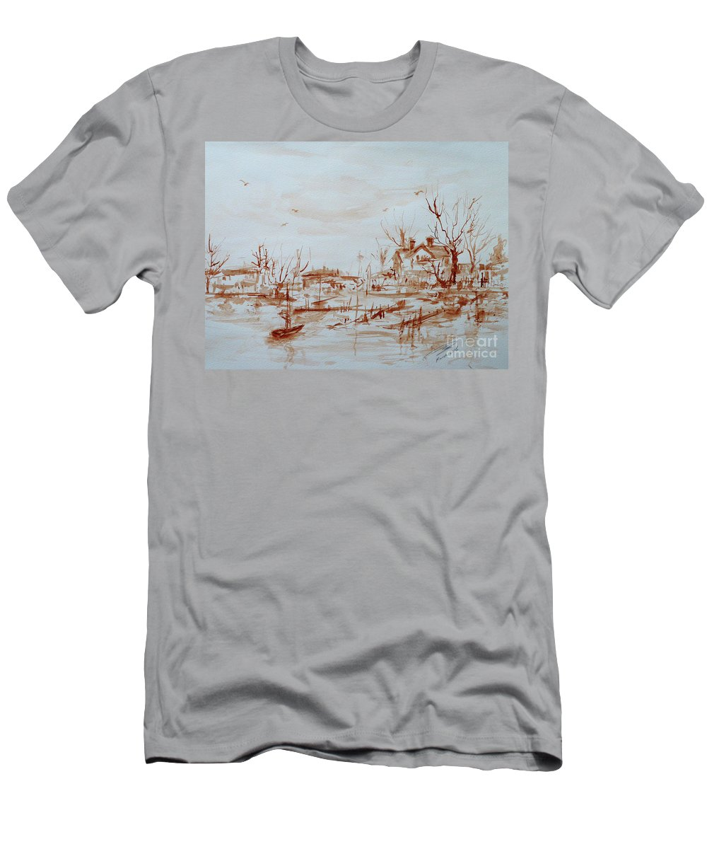 Landscape T-Shirt featuring the painting Winter Sketch 1 by Xueling Zou