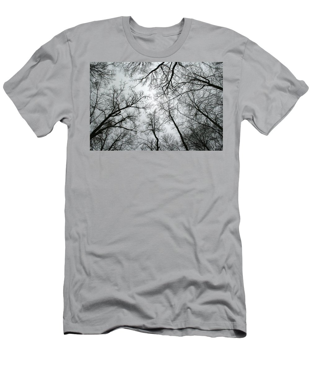 Winter Sky Tree Trees Grey Gloomy Peaceful Quite Calm Peace Cloudy Overcast Dark Men's T-Shirt (Athletic Fit) featuring the photograph Winter Sky by Andrei Shliakhau