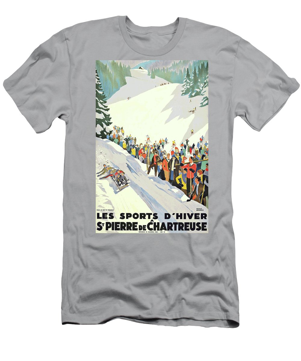 Winter Men's T-Shirt (Athletic Fit) featuring the painting Winter Sport, Mountain, France by Long Shot