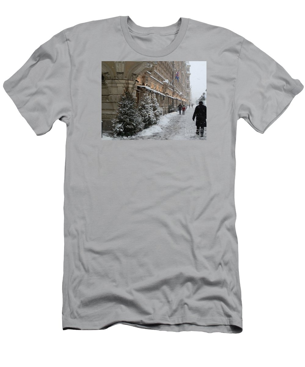 Helsinki Men's T-Shirt (Athletic Fit) featuring the photograph Winter Stroll In Helsinki by Margaret Brooks