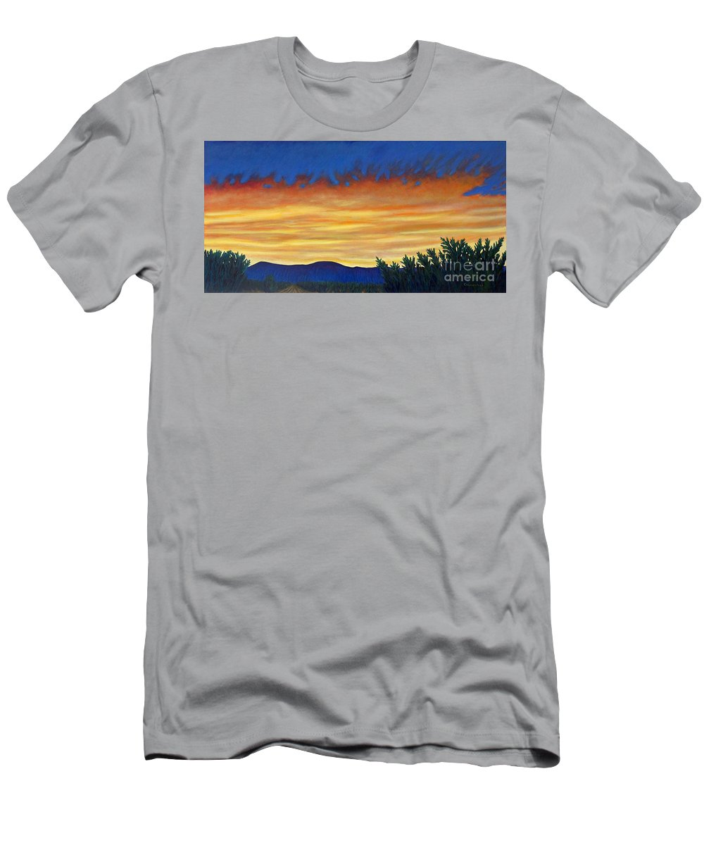 Sunset Men's T-Shirt (Athletic Fit) featuring the painting Winter Sunset In El Dorado by Brian Commerford