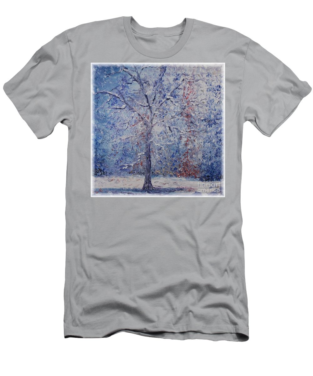 Winter Men's T-Shirt (Athletic Fit) featuring the painting Winter Trees by Nadine Rippelmeyer