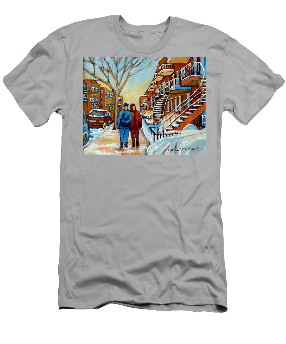 Montreal T-Shirt featuring the painting Winter Walk In Montreal by Carole Spandau