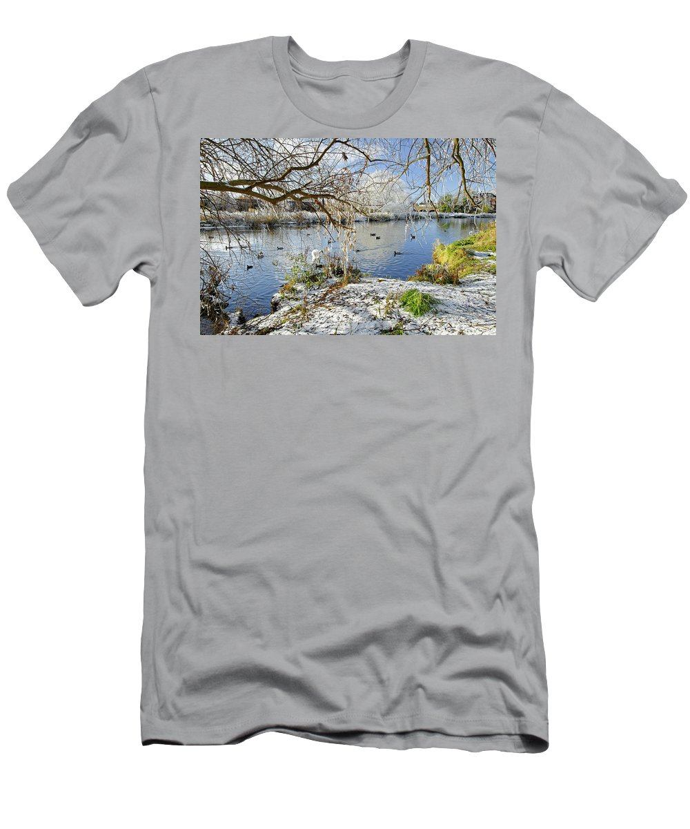 Europe Men's T-Shirt (Athletic Fit) featuring the photograph Wintry River At Newton Road Park by Rod Johnson