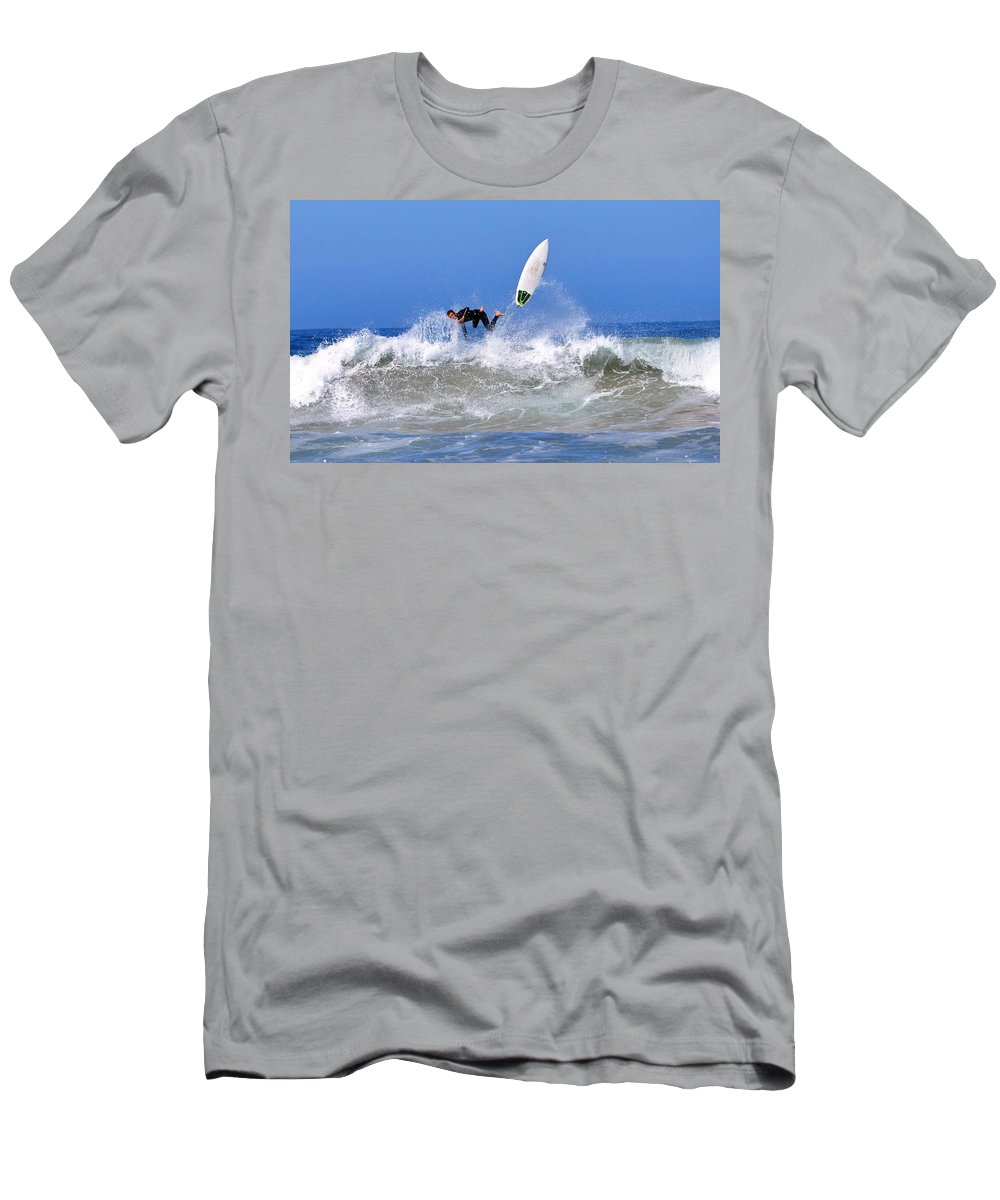 Surfer Men's T-Shirt (Athletic Fit) featuring the photograph Wipeout by Michael Brown