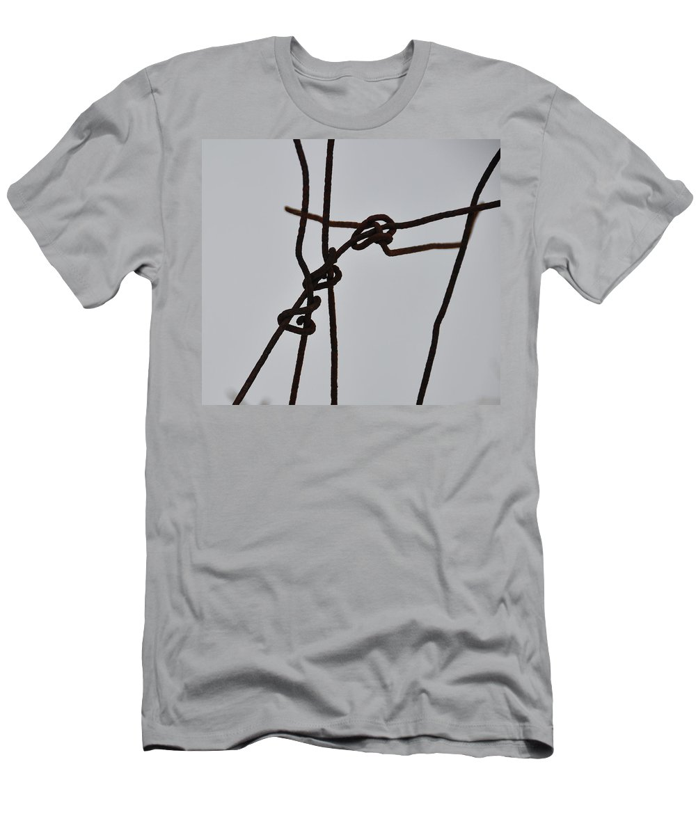 Wire Men's T-Shirt (Athletic Fit) featuring the photograph Wire And Snow by David Arment