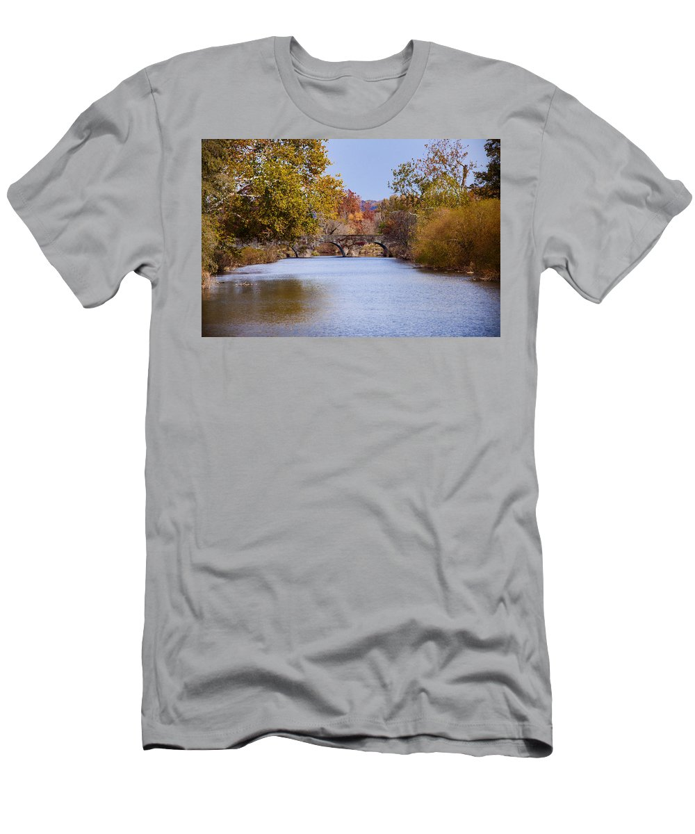 Wissahickon Men's T-Shirt (Athletic Fit) featuring the photograph Wissahickon Autumn by Bill Cannon
