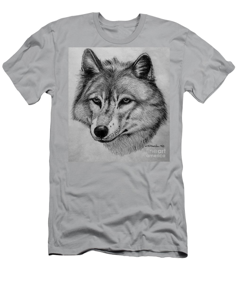 Wolf Men's T-Shirt (Athletic Fit) featuring the drawing Wolf Sketch by Nick Gustafson