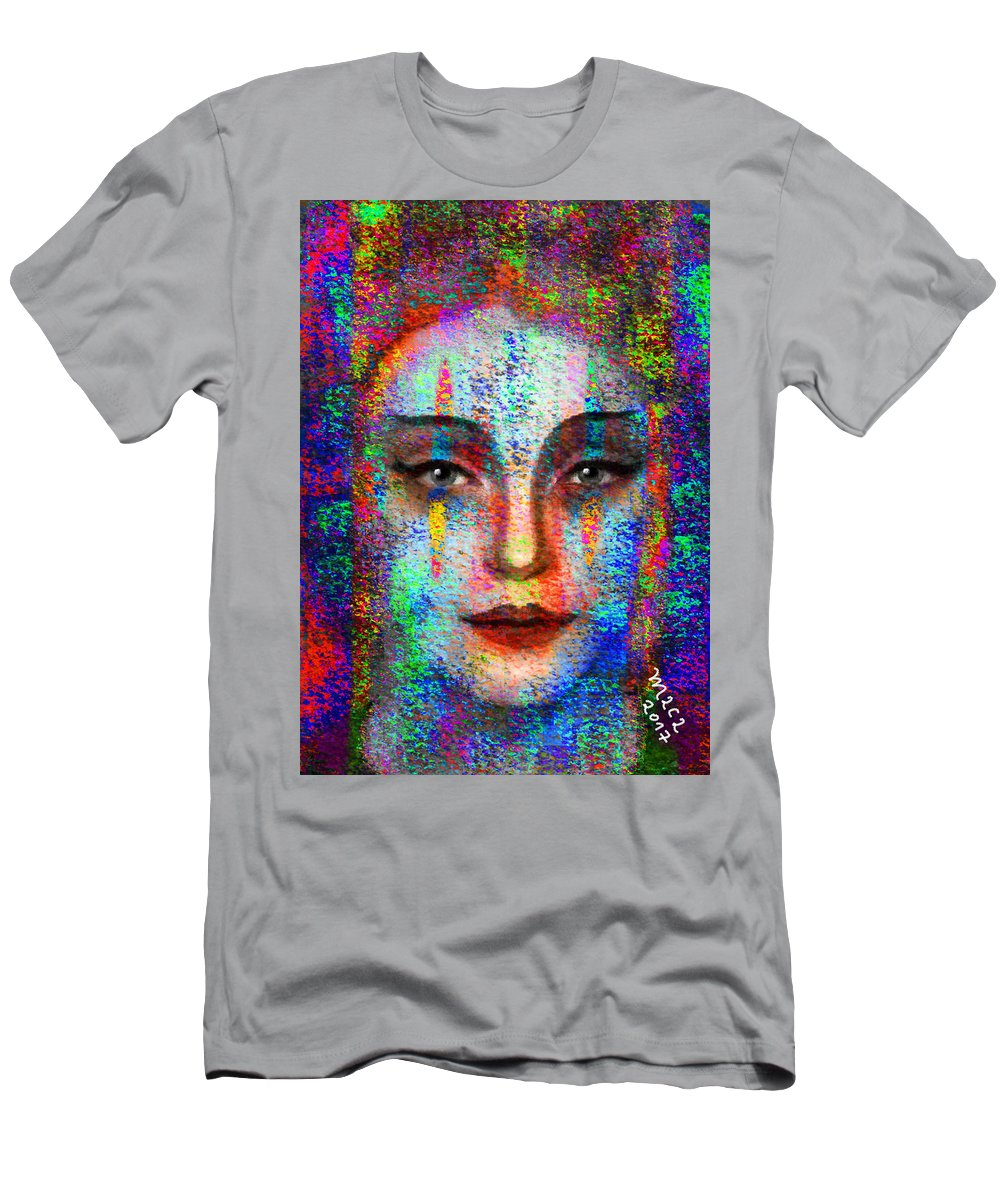 Woman Men's T-Shirt (Athletic Fit) featuring the painting Woman 395 by Maciej Mackiewicz