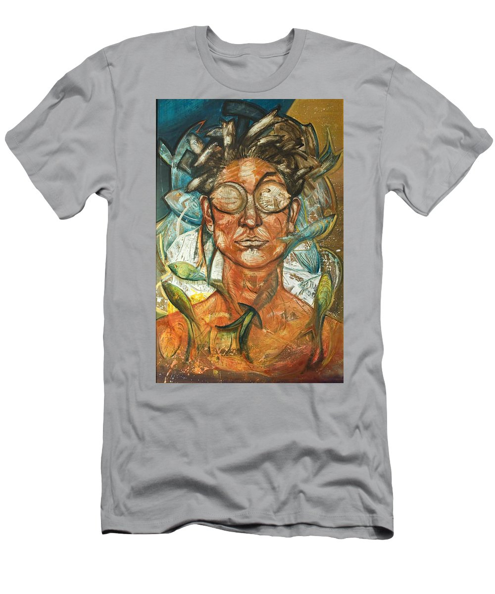 Pisces Men's T-Shirt (Athletic Fit) featuring the painting Woman And Fishes by Hengameh Abedin