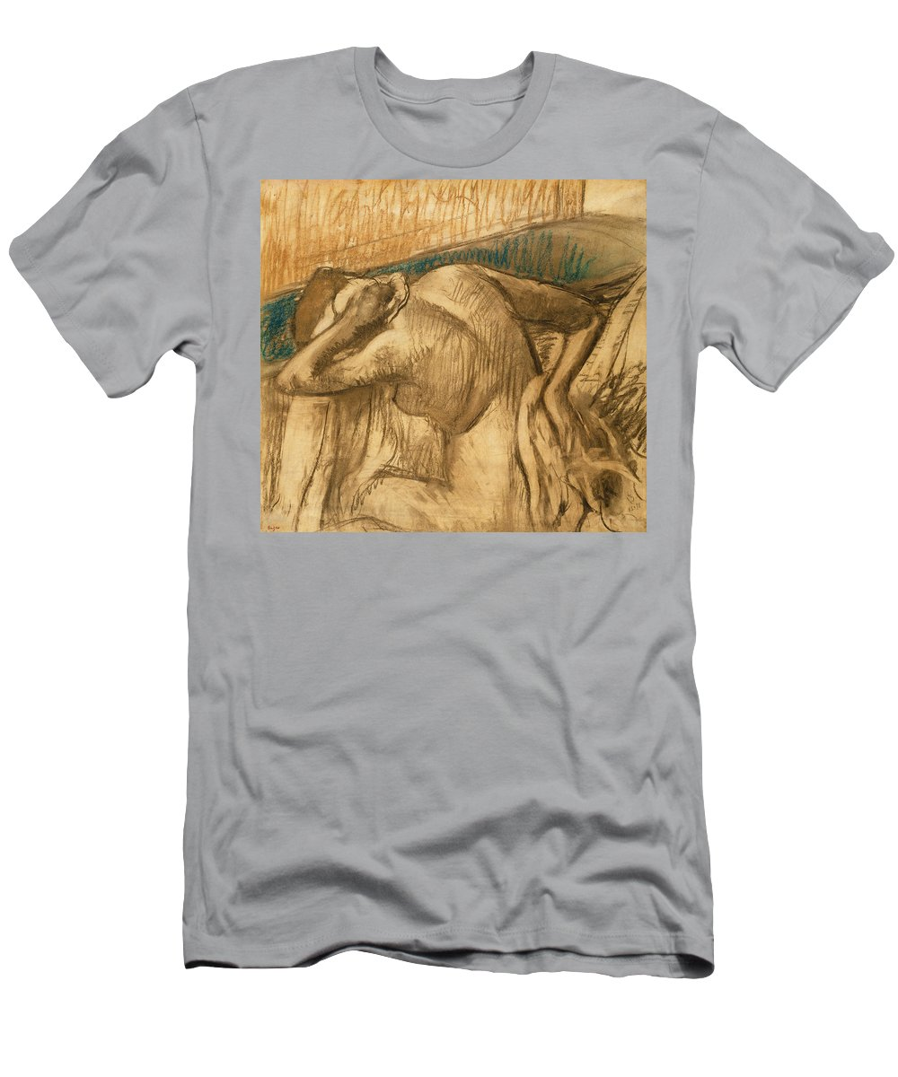 Woman Men's T-Shirt (Athletic Fit) featuring the pastel Woman At Her Toilet by Edgar Degas