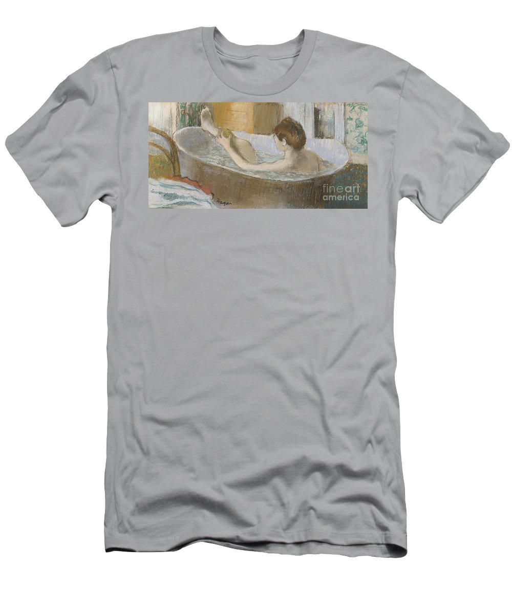Edgar Men's T-Shirt (Athletic Fit) featuring the pastel Woman In Her Bath by Edgar Degas