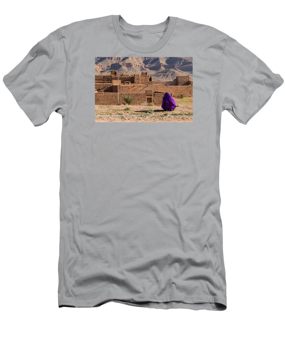Draa Men's T-Shirt (Athletic Fit) featuring the photograph Woman In Purple by Claudio Maioli