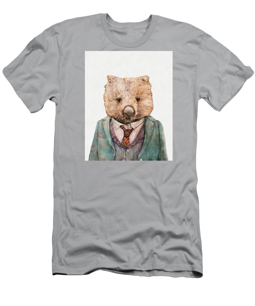 Wombat T-Shirt featuring the painting Wombat by Animal Crew