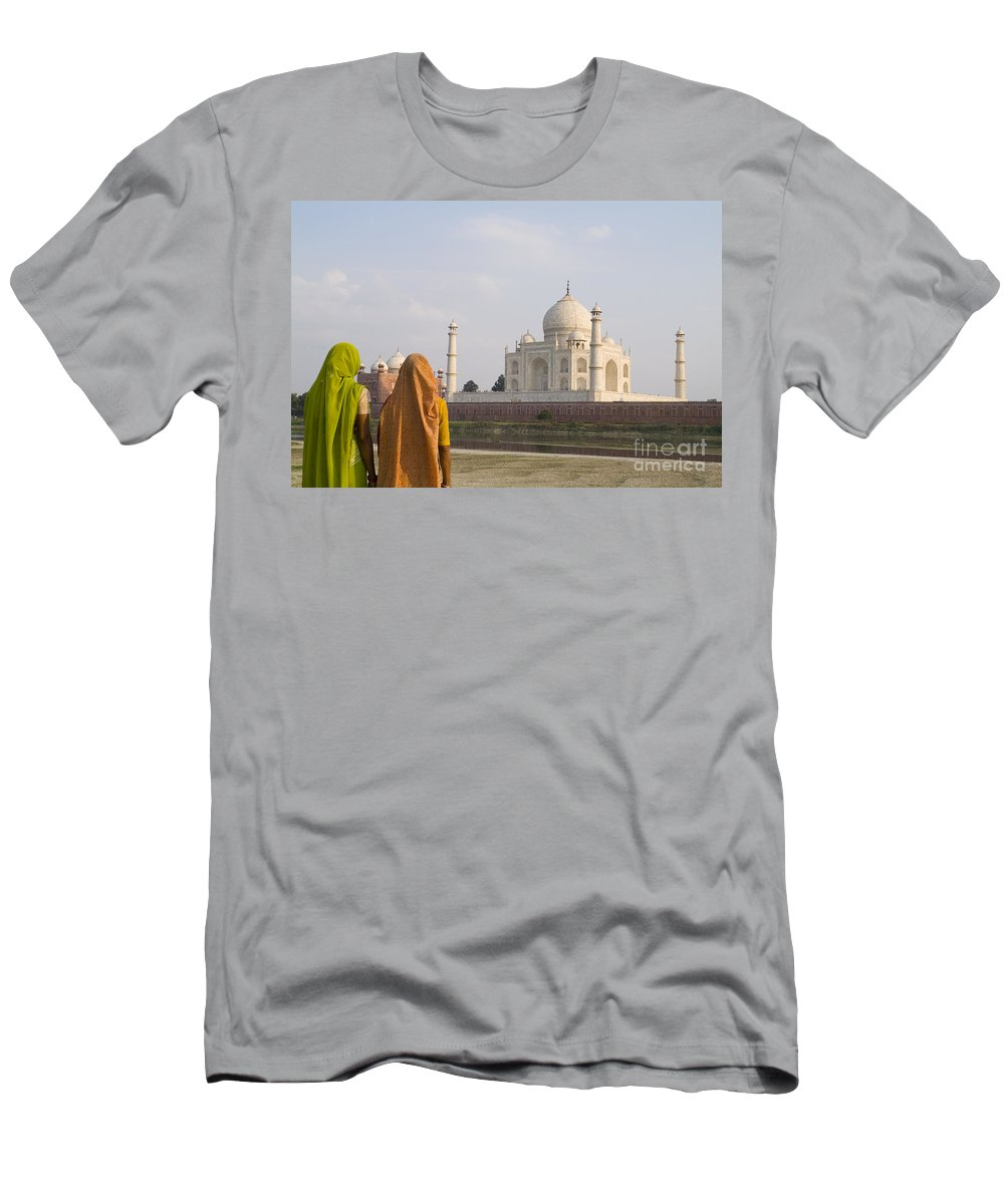 Agra Men's T-Shirt (Athletic Fit) featuring the photograph Women At Taj Mahal by Bill Bachmann - Printscapes