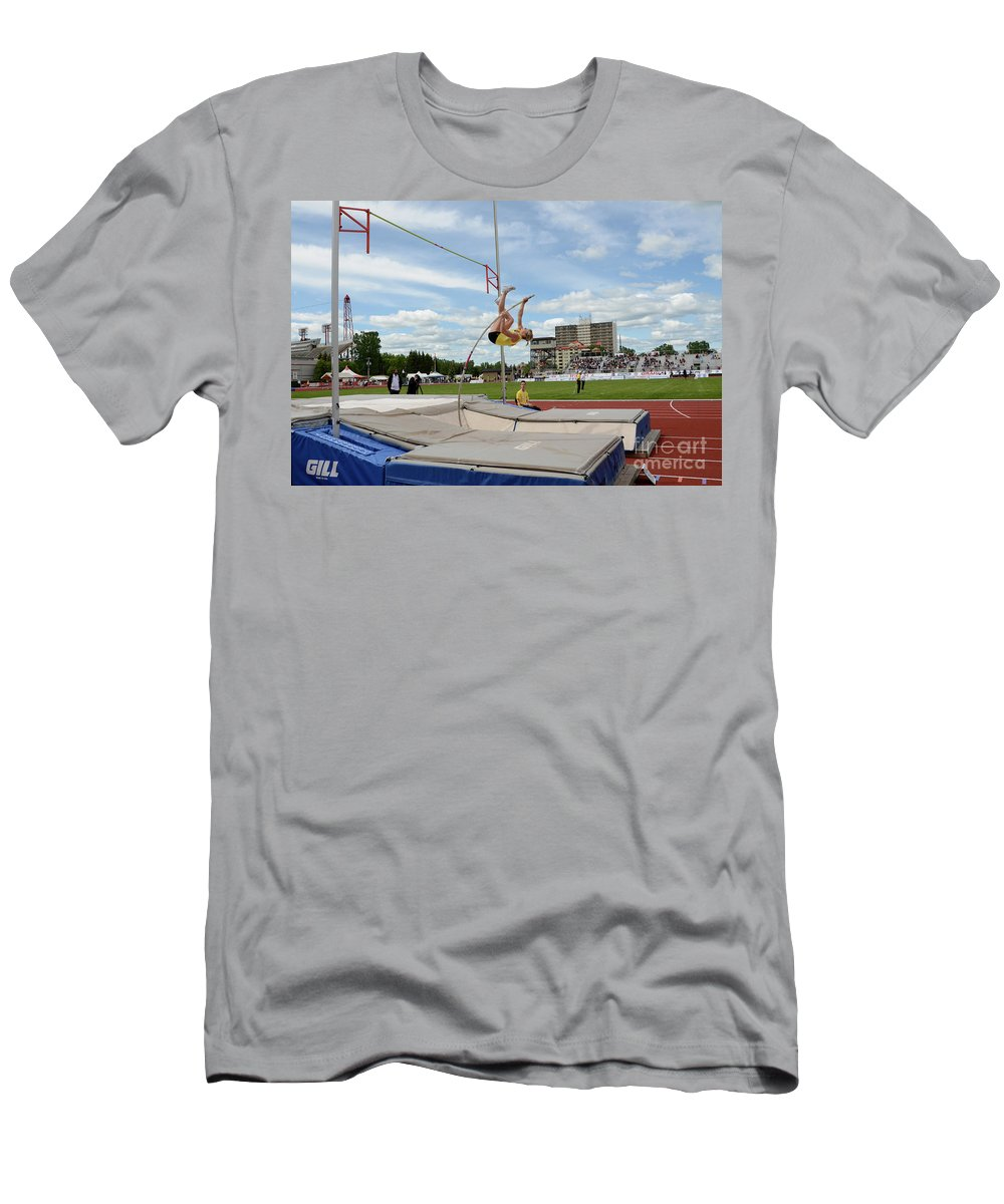 Canadian Track And Field National Championships 2011 Men's T-Shirt (Athletic Fit) featuring the photograph Womens Pole Vault 2 by Bob Christopher