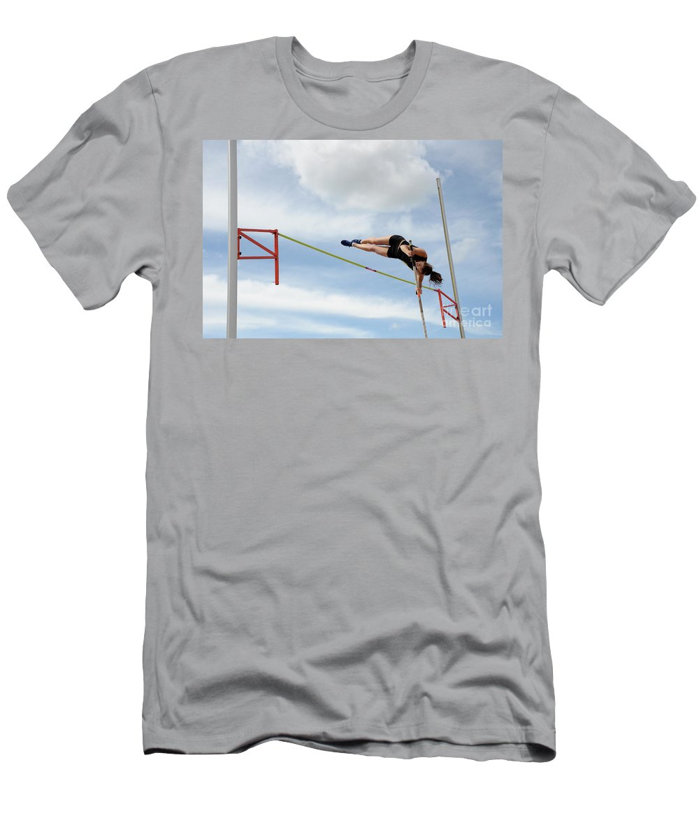 Canadian Track And Field National Championships 2011 Men's T-Shirt (Athletic Fit) featuring the photograph Womens Pole Vault by Bob Christopher