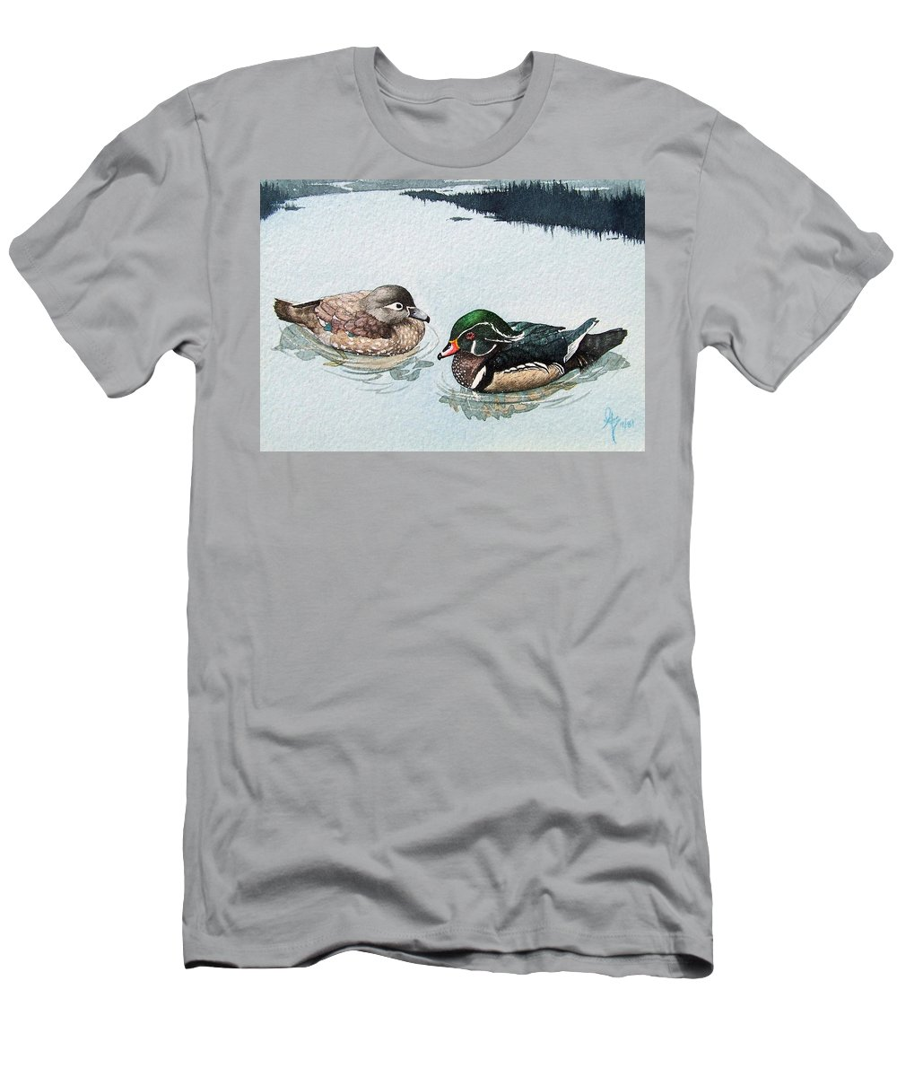 Ducks Men's T-Shirt (Athletic Fit) featuring the painting Wood Ducks by Gale Cochran-Smith