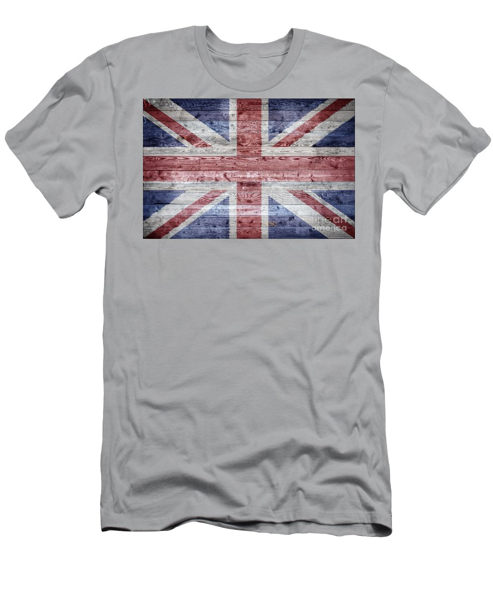 United Men's T-Shirt (Athletic Fit) featuring the photograph Wooden Boards United Kingdom by Antony McAulay