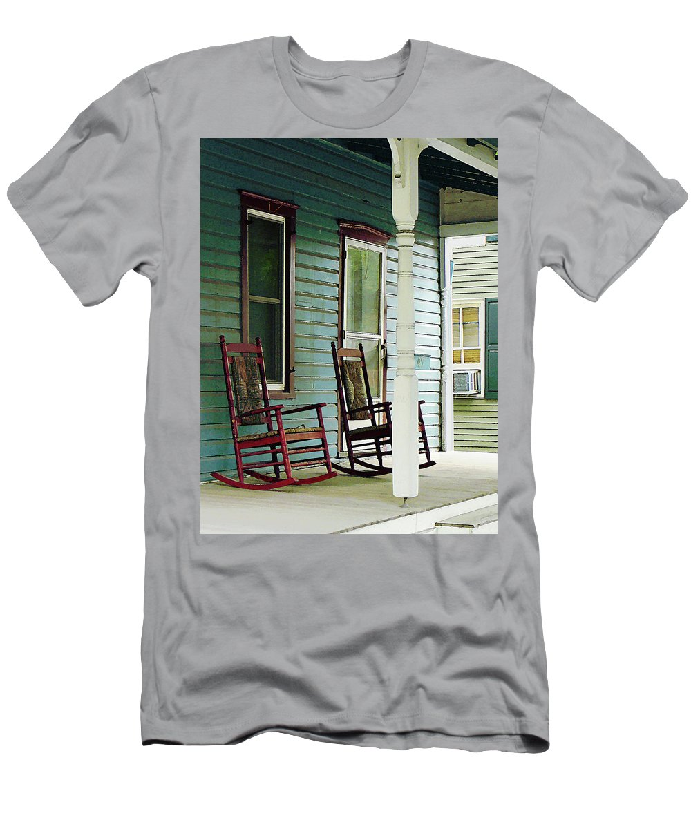 Porch Men's T-Shirt (Athletic Fit) featuring the photograph Wooden Rocking Chairs On Porch by Susan Savad
