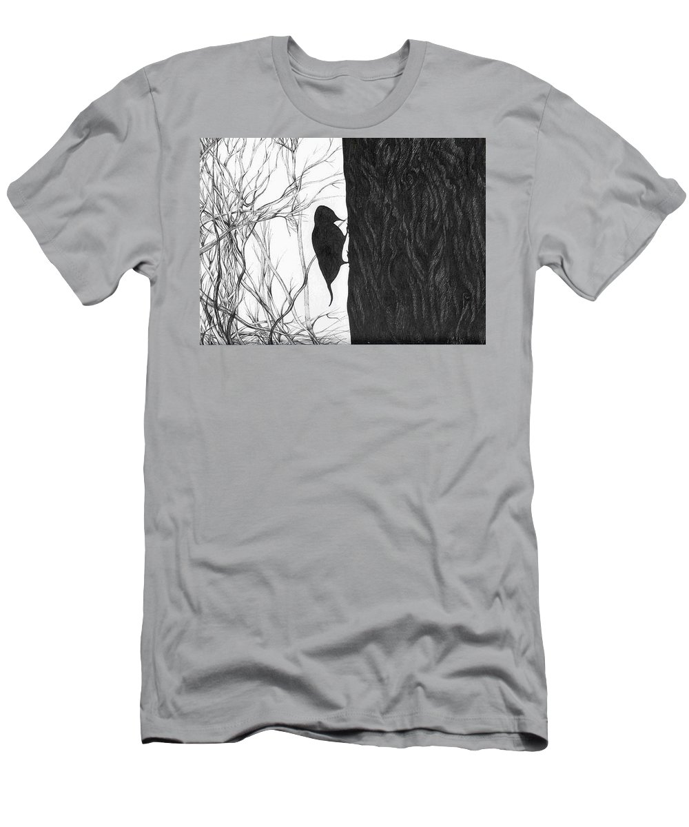 Pen And Ink Men's T-Shirt (Athletic Fit) featuring the drawing Woodpecker by Anna Duyunova