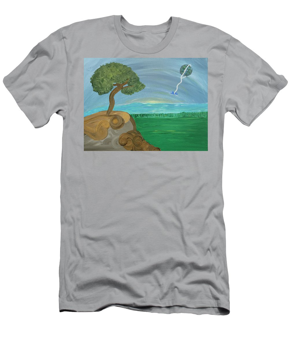 Landscape Men's T-Shirt (Athletic Fit) featuring the painting World On A String by Sara Credito