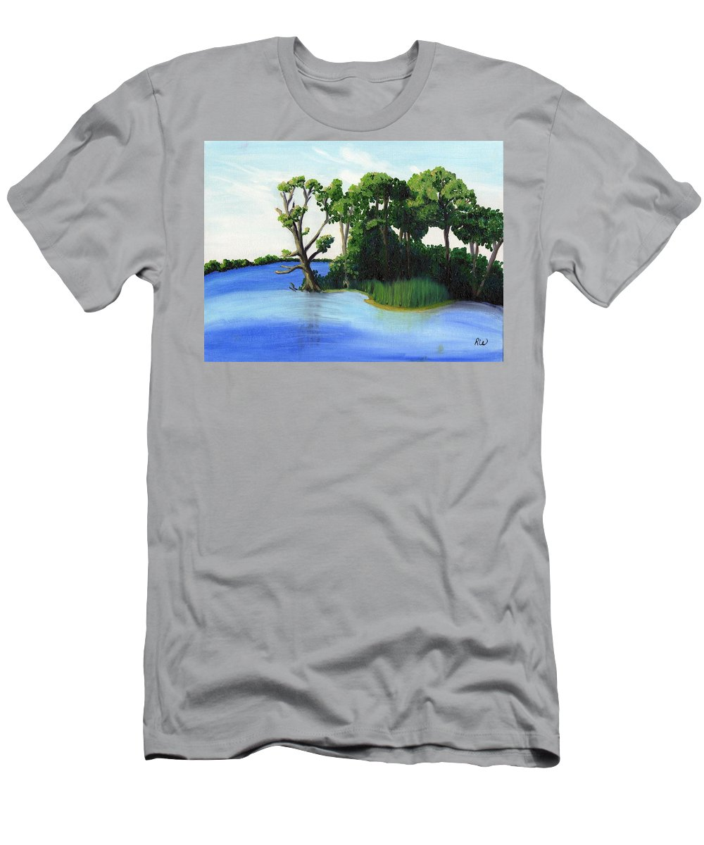 Waterscape Men's T-Shirt (Athletic Fit) featuring the painting Worlds Away Off The Wye River by Rose Wienhoff